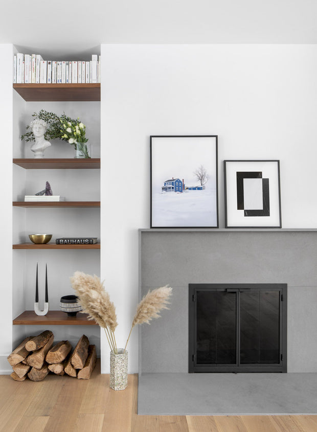 Blue House in Winter modern minimalist photography poster by Opposite Wall - Fireplace - Duo