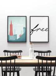 Modern minimalist poster by Opposite Wall with poster duo including illustration of San Francisco - Dining Room