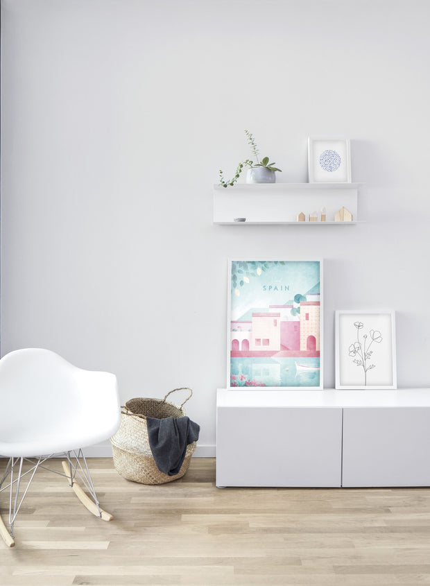 Modern minimalist poster by Opposite Wall with poster duo including illustration of Spain - Sitting Area