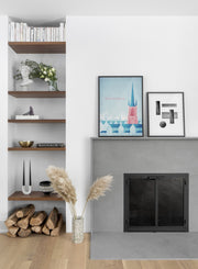 Modern minimalist poster by Opposite Wall with poster duo including illustration of Stockholm, Sweden - Living Room