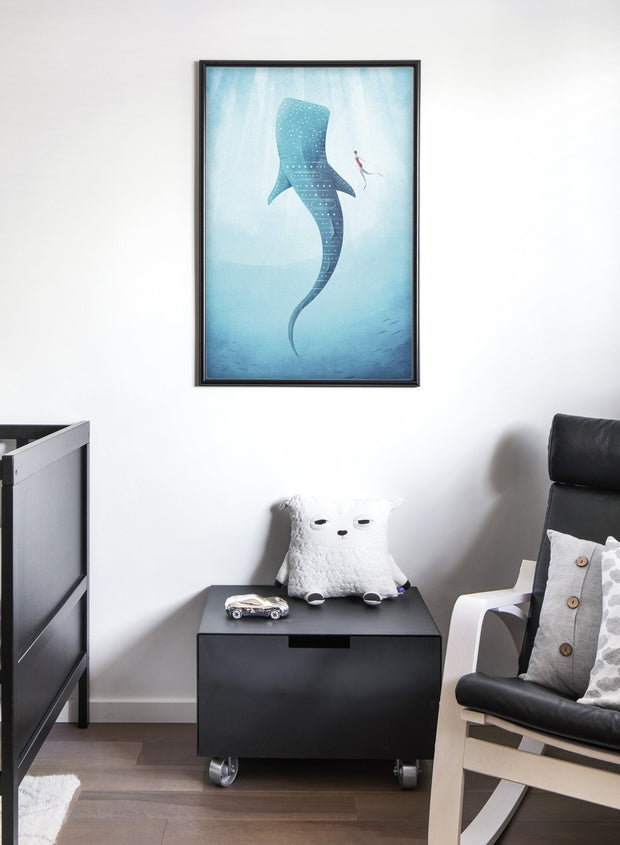 Modern minimalist poster by Opposite Wall with illustration of whale in deep sea - Nursery