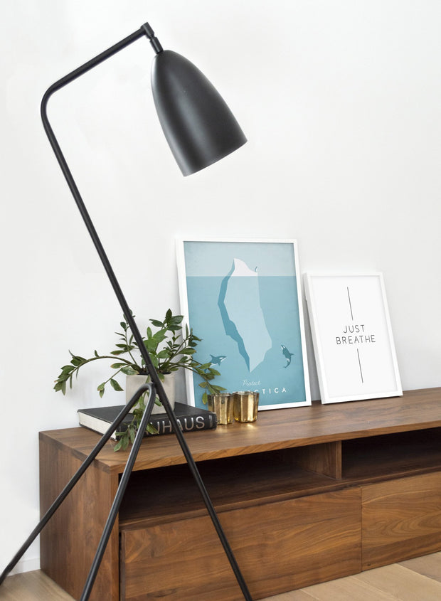 Modern minimalist poster by Opposite Wall with poster duo including illustration of Antarctica - Living Room