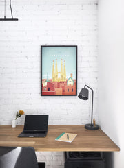 Modern minimalist poster by Opposite Wall with illustration of Barcelona, Spain - Personal Office Space