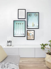 Modern minimalist travel poster by Opposite Wall with poster quad including illustration of Miami - Living Room