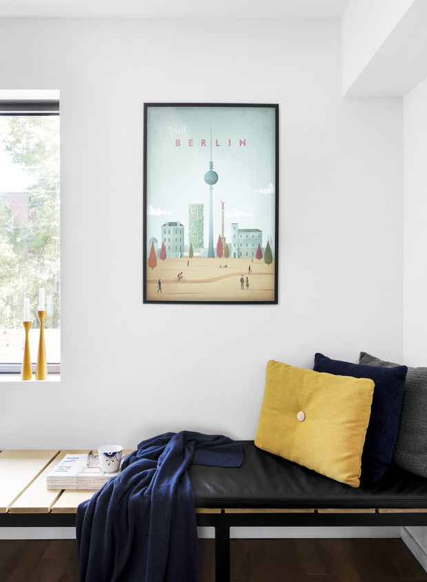 Modern minimalist poster by Opposite Wall with illustration of Berlin - Bedroom