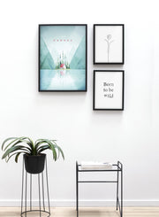 Modern minimalist poster by Opposite Wall with poster trio of illustration of Canada - Entryway