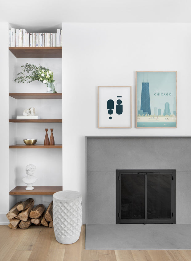 Modern minimalist poster by Opposite Wall with poster duo of illustration of Chicago - Living Room