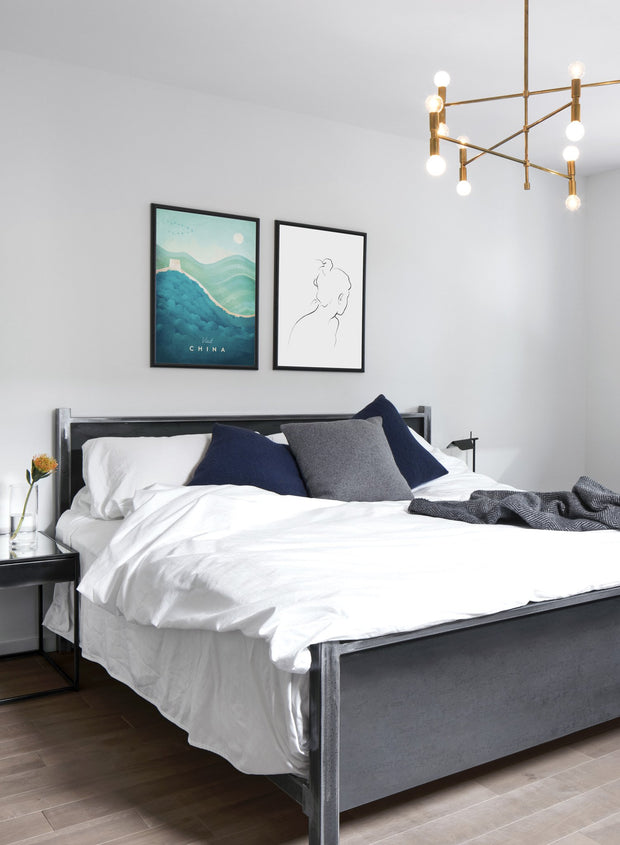 Modern minimalist poster by Opposite Wall with poster trio of illustration of Canada - EntrywayModern minimalist poster by Opposite Wall with poster trio of illustration of CanaModern minimalist poster by Opposite Wall with poster duo of illustration of China - Bedroom