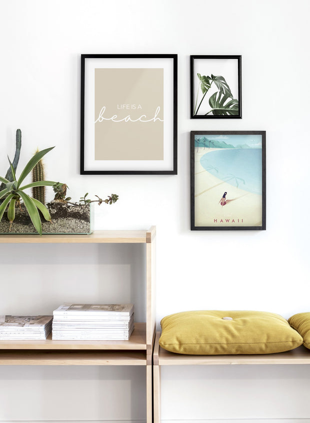 Modern minimalist travel poster by Opposite Wall with poster trio including illustration of Hawaii - Entryway