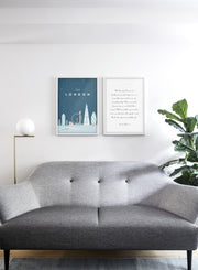 Modern minimalist travel poster by Opposite Wall with poster duo including illustration of London - Living Room