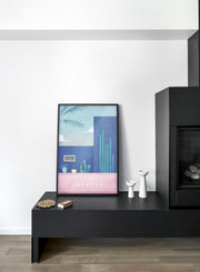 Modern minimalist travel poster by Opposite Wall including illustration of Morocco - Bedroom