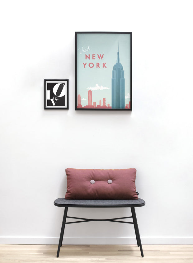 Modern minimalist travel poster by Opposite Wall with poster duo including illustration of New York - Entryway