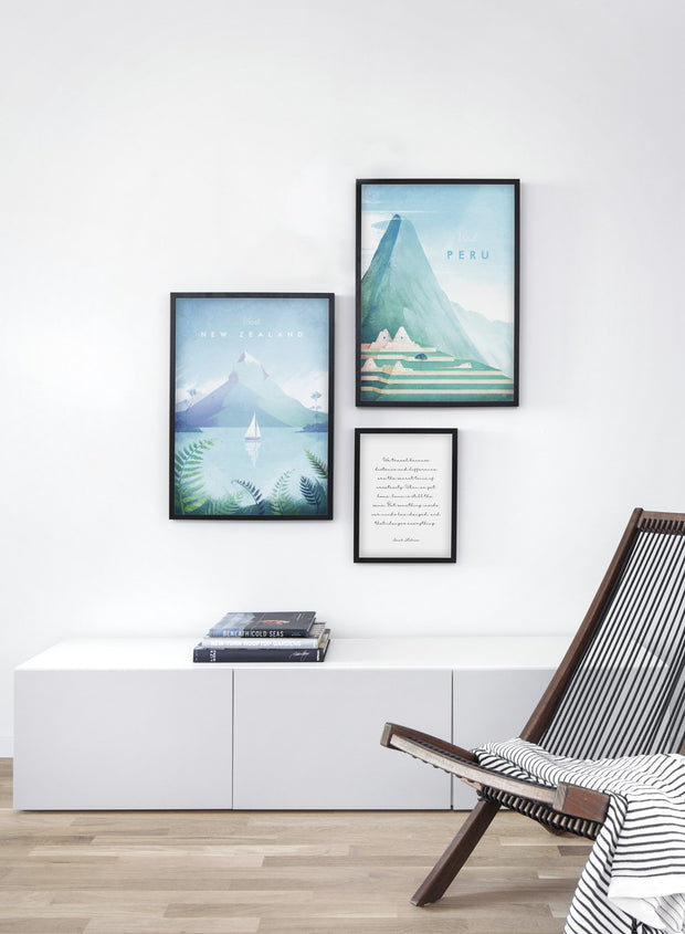 Modern minimalist travel poster by Opposite Wall with poster trio including illustration of New Zealand - Living Room