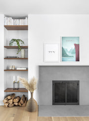 Modern minimalist travel poster by Opposite Wall with poster duo including illustration of Norway - Living Room