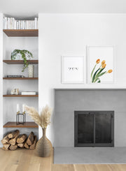 Minimalist wall art poster duo featuring bouquet of tulips floral photography - Fireplace
