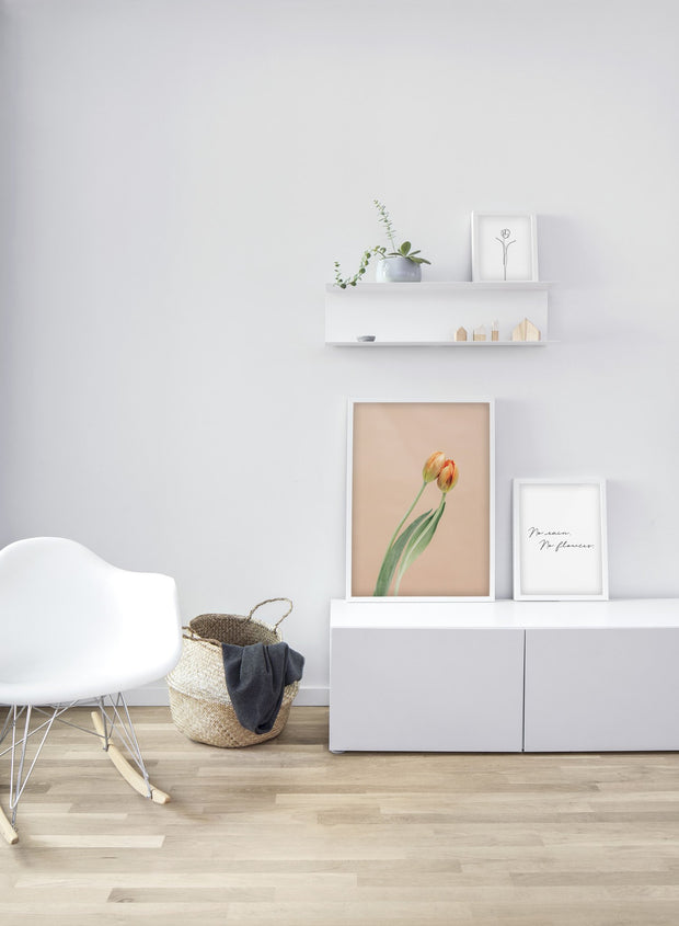 Minimalist poster trio featuring orange tulips floral photography - Bedroom