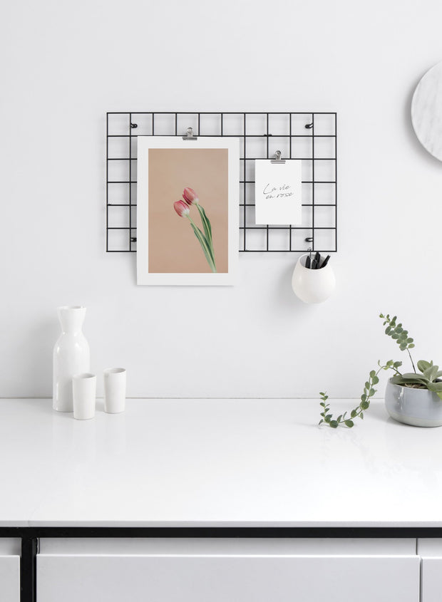 Minimalist wall art poster duo featuring Together Forever pink tulip flower photography - Office