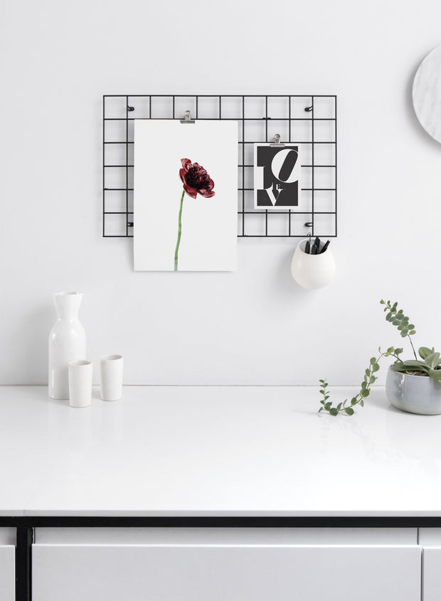 Minimalist wall poster of burgundy red peony flower photography - Office