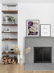Minimalist wall art poster duo featuring purple hydrangeas floral photography - Fireplace