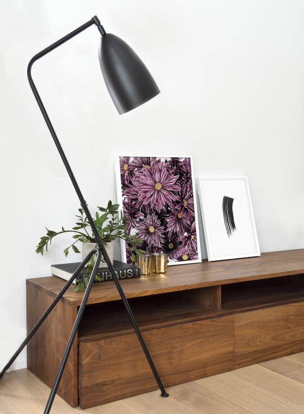 Minimalist poster duo featuring Mauve Blossoms daisy floral photography - Living Room