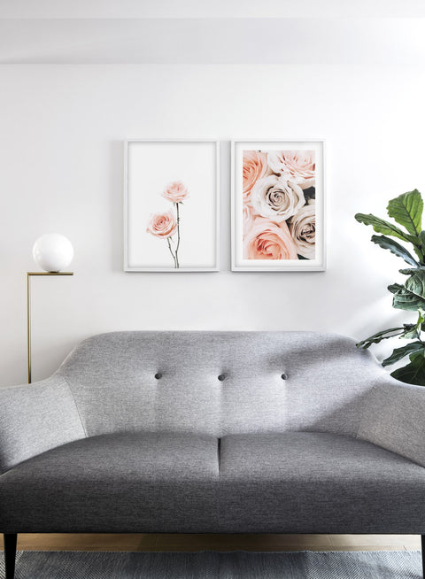 Minimalist wall art poster duo with Pink Roses floral photography - Living Room