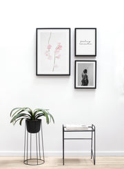 Minimalistic wall photography by Opposite Wall with Dusty Pink floral photography - Design flower pot and a coffee table