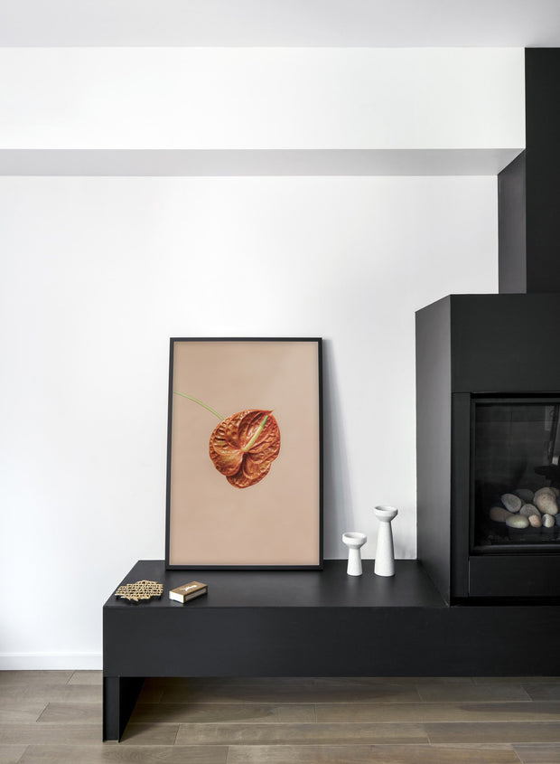 Minimalist wall poster by Opposite Wall with Anthurium floral photography - Living room