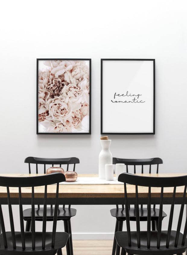 Minimalist wall poster duo with bouquet of pink peonies - Dining Room