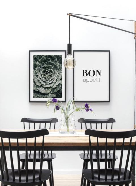 Minimalist poster duo featuring ornamental cabbage botanical photography - Dining Room