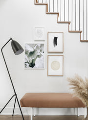 Minimalist poster quad featuring elegant leaves botanical photography - Entryway
