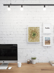 Minimalist wall poster trio featuring yellow chrysanthemum flower close up photography - Office