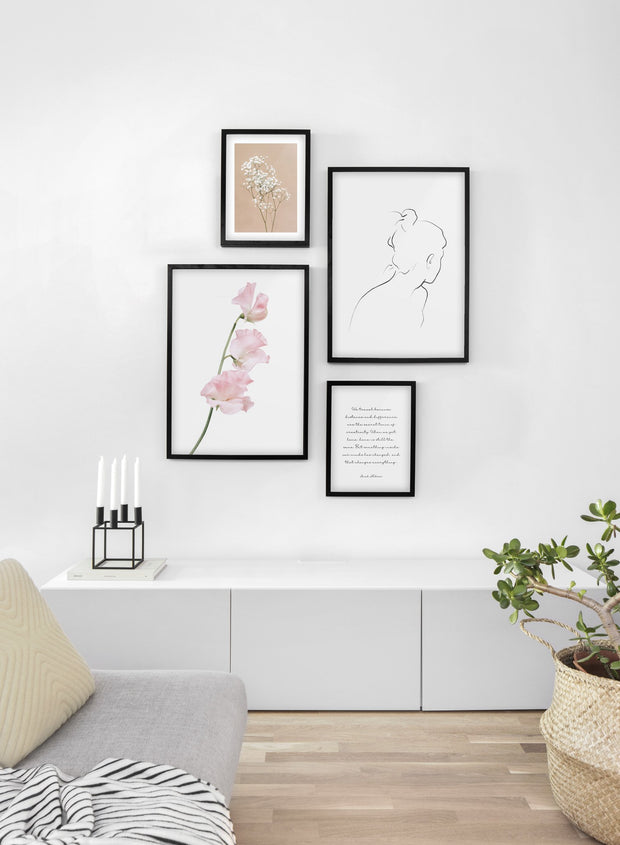 Minimalist wall art poster quad featuring silken petals floral photography - Living Room