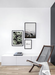 Minimalist wall art poster trio featuring succulents botanical photography - Living Room