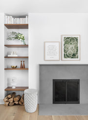 Minimalist poster duo featuring green Echevaria succulent botanical photography - Fireplace
