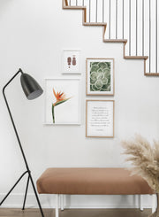 Minimalist wall poster by Opposite Wall of poster quad including Bird of Paradise floral photography - Entryway