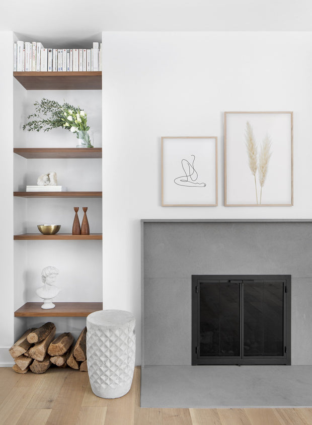 Minimalist poster duo of botanical photography of Grasses - Fireplace