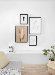 Minimalist poster quad featuring botanical photography of Gathering of Grasses - Living Room