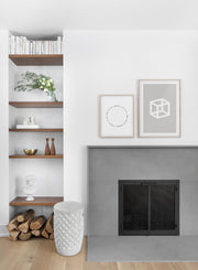 Grey Cube modern minimalist photography poster by Opposite Wall - Living room