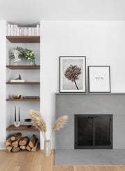 Towering Tree modern minimalist black and white photography poster by Opposite Wall - Fireplace - Duo