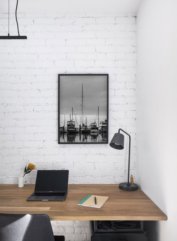 Boats in a marina modern minimalist nature photography poster by Opposite Wall - Office Desk