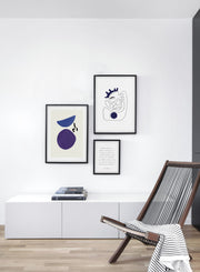 Scandinavian poster by Opposite Wall with abstract painting of balls balancing - Trio - Living Room