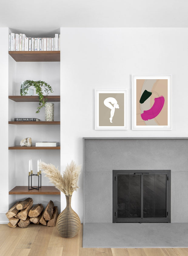 Scandinavian poster by Opposite Wall with abstract painting of Loop - Duo - Fireplace