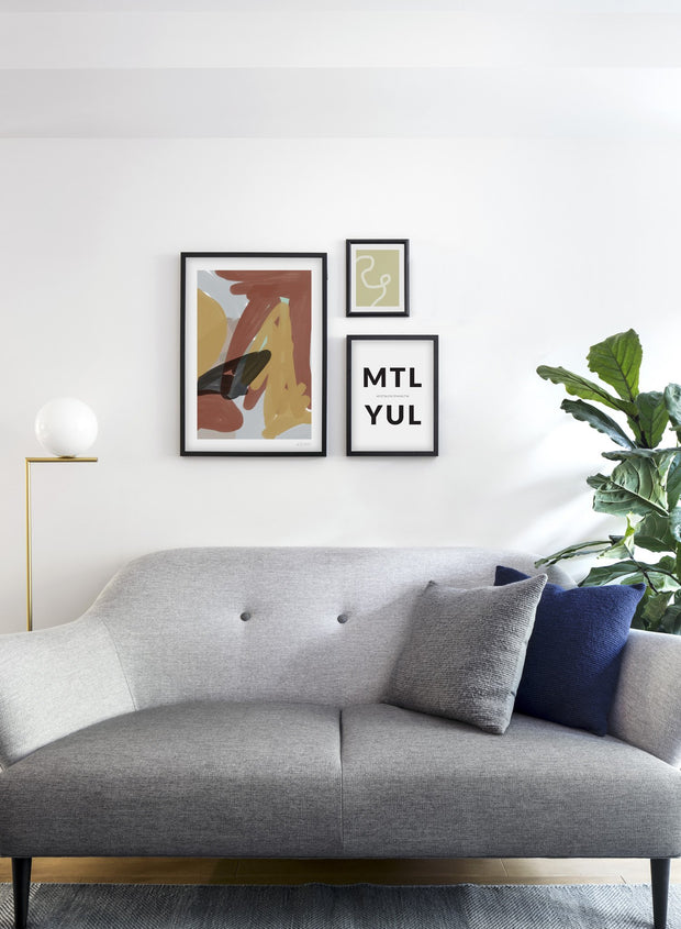 Scandinavian poster by Opposite Wall with abstract painting of Free Strokes - Trio - Living Room