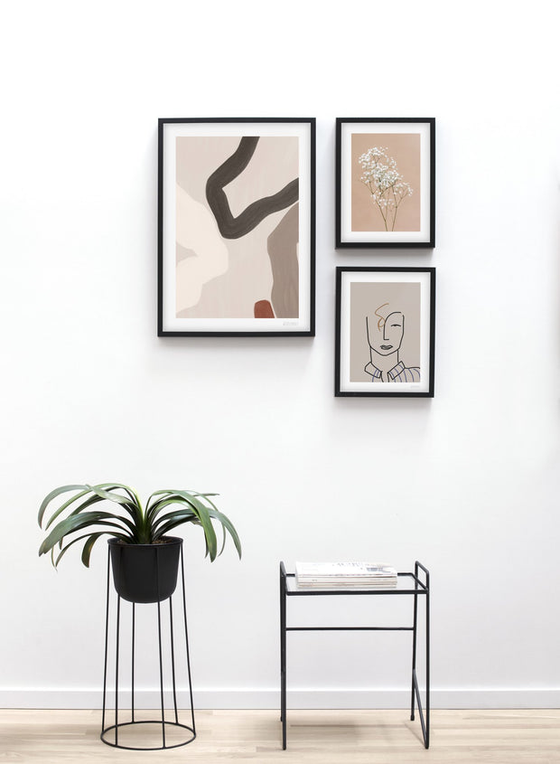 Scandinavian poster by Opposite Wall with abstract painting of curvy lines - Trio - Entryway