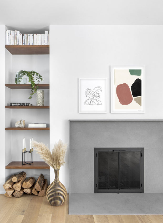 Scandinavian poster by Opposite Wall with abstract painting of Muted Beauty - Duo - Fireplace