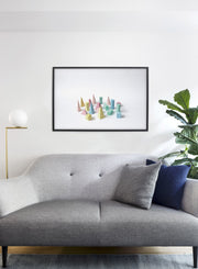 Toy Man modern minimalist abstract photography poster of 3D toy pieces by Opposite Wall - Living Room Couch