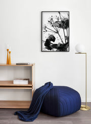 Stickler in the Wind modern minimalist black and white nature photography poster by Opposite Wall - Living Room