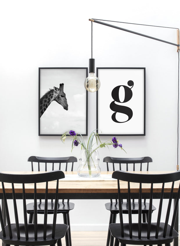 Safari modern minimalist black and white animal photography poster of giraffe by Opposite Wall - Duo - Dining Room