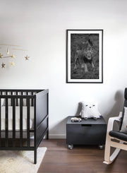 Hear Me Roar modern minimalist black and white animal photography poster of lion by Opposite Wall - Nursery Bedroom