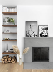 Wild Thing modern minimalist black and white nature photography poster by Opposite Wall - Duo - Living Room Fireplace